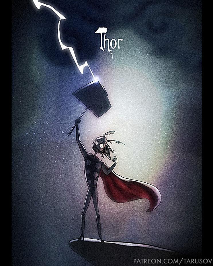 asi-se-verian-los-superheroes-de-hoy-si-hubieran-sido-hechos-por-tim-burton-thor