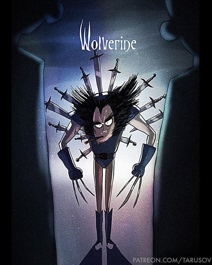 asi-se-verian-los-superheroes-de-hoy-si-hubieran-sido-hechos-por-tim-burton-wolverine
