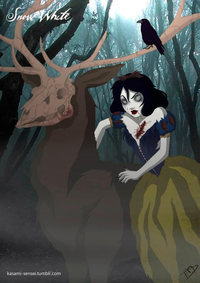 cuando-las-princesas-de-disney-sacan-su-lado-mas-oscuro-kasami-sensei-blanca-nieves