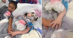 """Foto de niña con enfermedad terminal que se """"casó"""" con su mejor amigo conmueve en Internet"""
