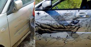 La manera más artística y original de solucionar los golpes en tu carro