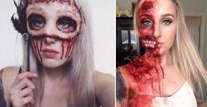El maquillaje que aplica esta chica es perfecto para la más macabra noche de brujas