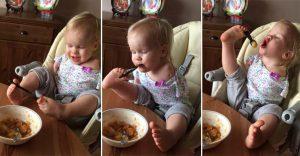 Esta niña nació sin brazos y ahora ha aprendido a comer por sí sola