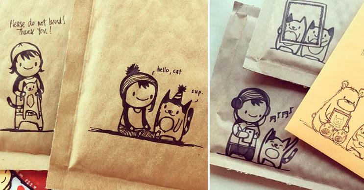 Mira cómo esta artista crea los más divertidos doodles en sobres de correo