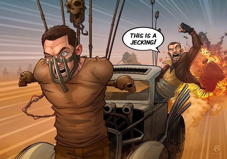 ilustraciones-de-personajes-del-cine-y-la-television-hechas-por-el-artista-patrick-brown-mad-max-fury-road