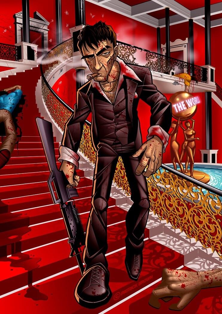 ilustraciones-de-personajes-del-cine-y-la-television-hechas-por-el-artista-patrick-brown-scarface
