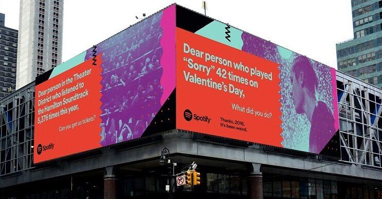 Original campaña de Spotify que juega con las búsquedas de sus usuarios