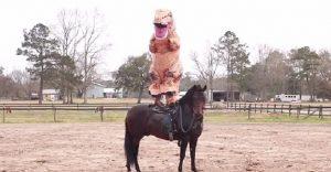 Este rodeo tuvo al más divertido participante para Halloween