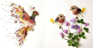 Esta artista crea vida con las flores que encuentra en su camino