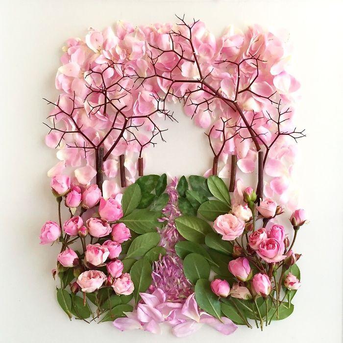 esta-artista-crea-vida-con-las-flores-que-encuentra-en-su-camino-camino