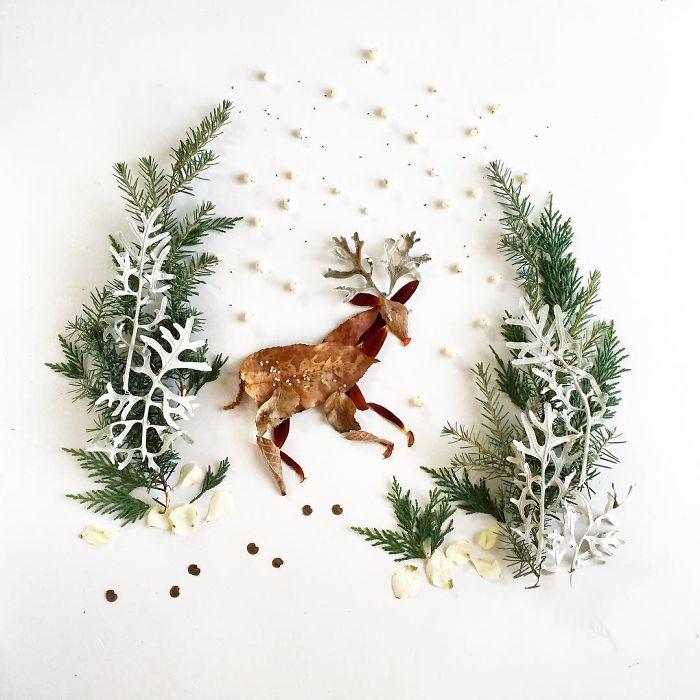 esta-artista-crea-vida-con-las-flores-que-encuentra-en-su-camino-ciervo