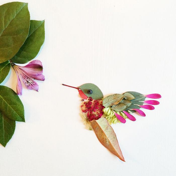 esta-artista-crea-vida-con-las-flores-que-encuentra-en-su-camino-colibri