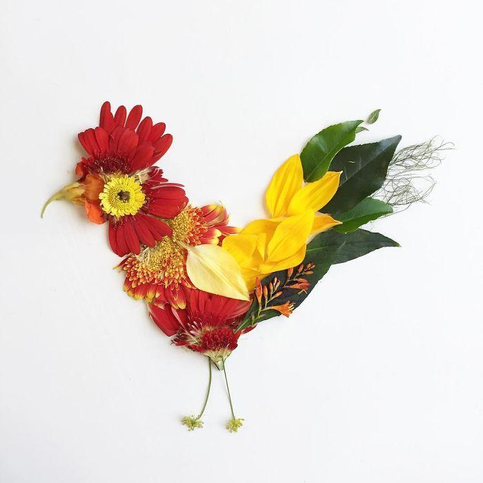 esta-artista-crea-vida-con-las-flores-que-encuentra-en-su-camino-gallina