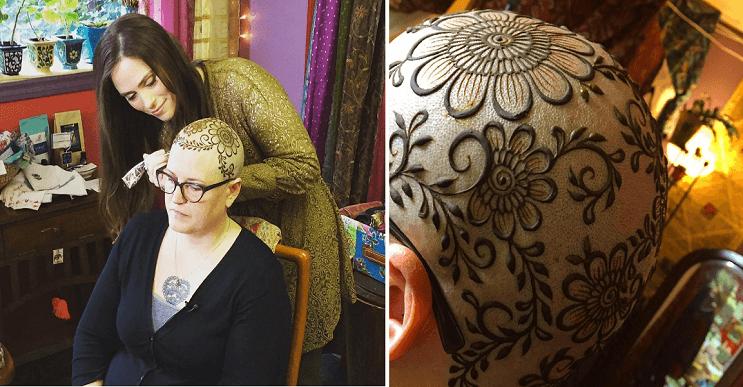 Esta mujer creas asombrosas coronas de henna para personas con cáncer