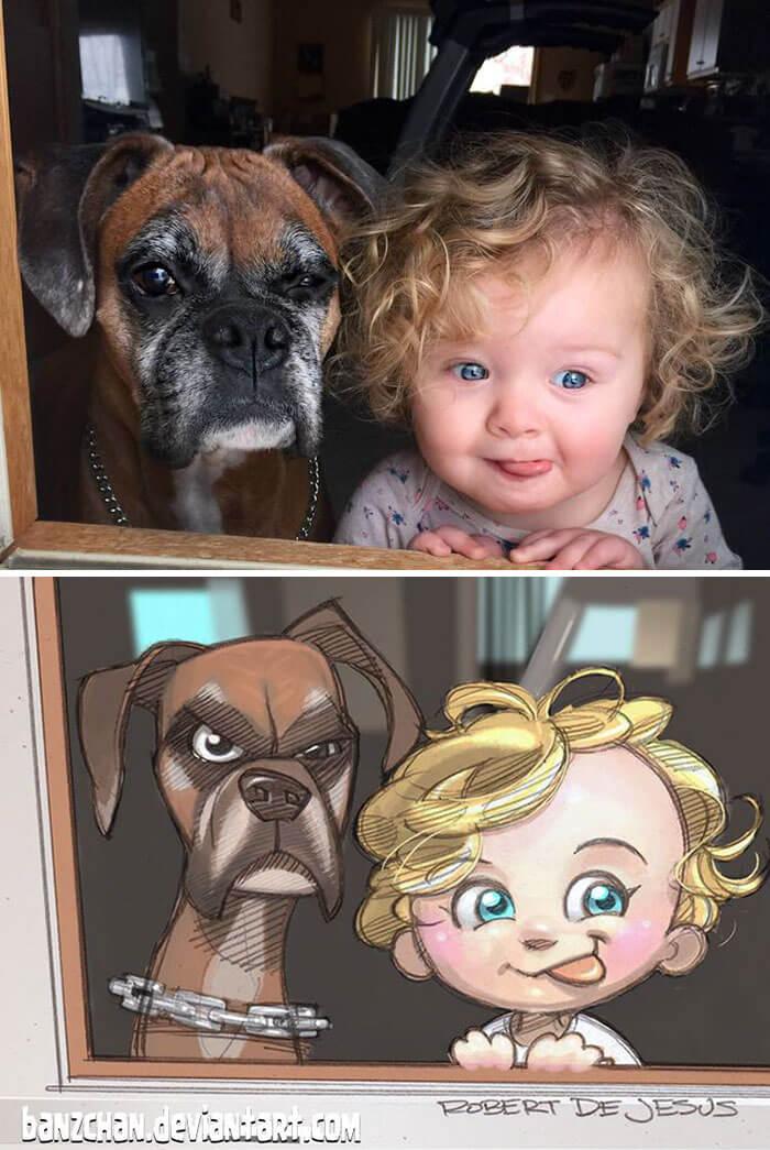 este-ilustrador-convierte-a-los-extranos-en-caricaturas-bulldog