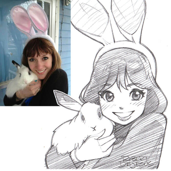 este-ilustrador-convierte-a-los-extranos-en-caricaturas-conejo