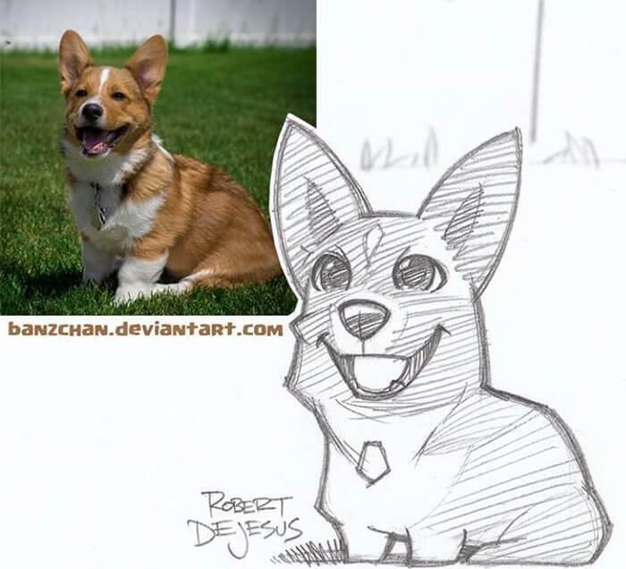 este-ilustrador-convierte-a-los-extranos-en-caricaturas-corgi-perro