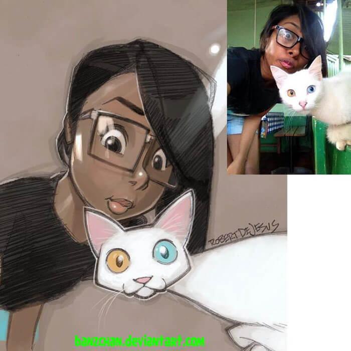 este-ilustrador-convierte-a-los-extranos-en-caricaturas-gato