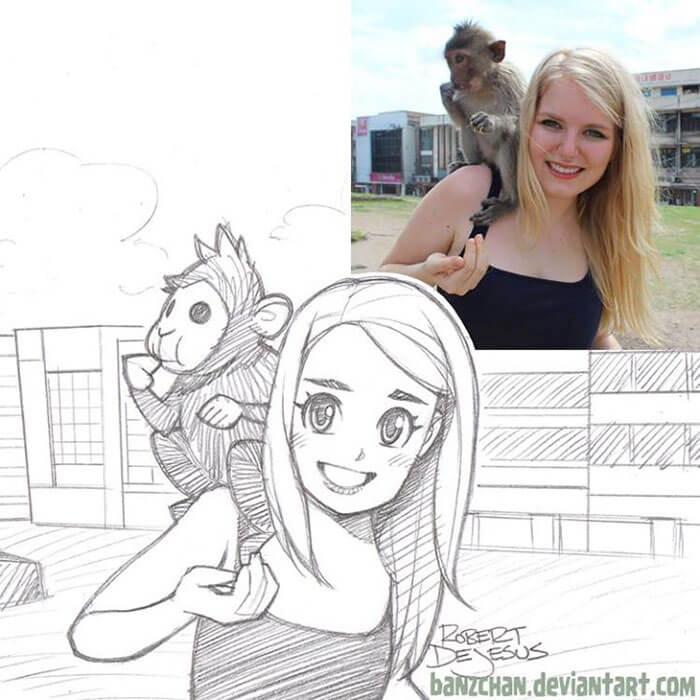 este-ilustrador-convierte-a-los-extranos-en-caricaturas-mono