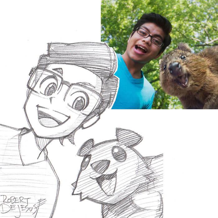 este-ilustrador-convierte-a-los-extranos-en-caricaturas-sonrisa