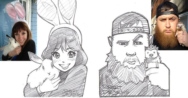 Este ilustrador convierte a los extraños en caricaturas