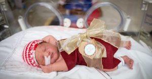 Estos bebés prematuros son envueltos como regalos de navidad para mantenerlos calientes