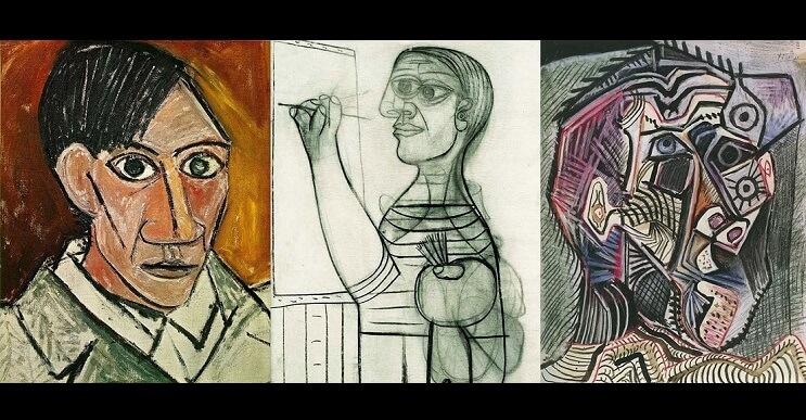 La evolución de Pablo Picasso con retratos que lo muestran a través de los años