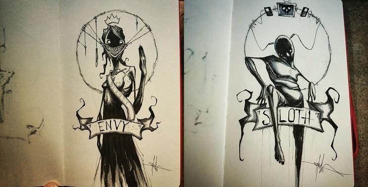 Los siete pecados capitales dibujados de la más siniestra manera