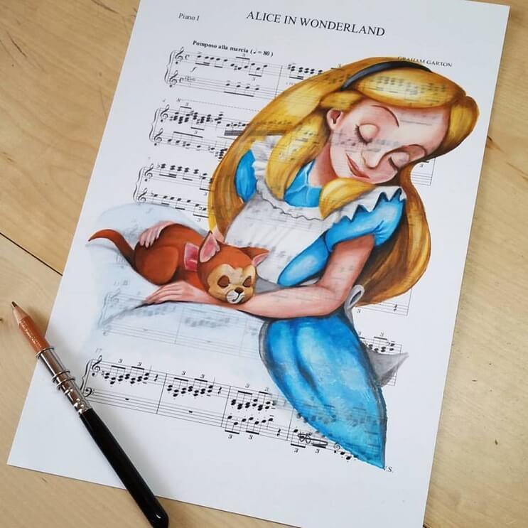 personajes-de-disney-dibujados-sobre-las-letras-de-sus-canciones-alicia-en-el-pais-de-la-maravillas