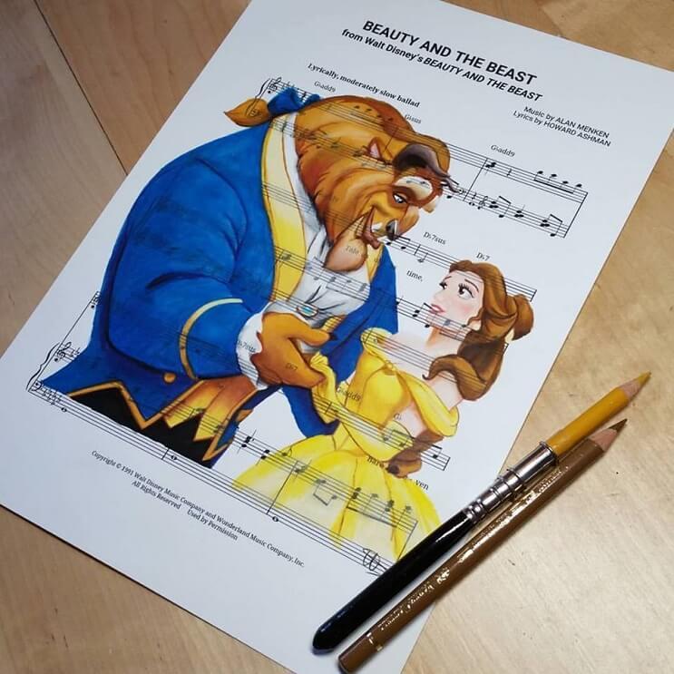 personajes-de-disney-dibujados-sobre-las-letras-de-sus-canciones-bella-y-la-bestia