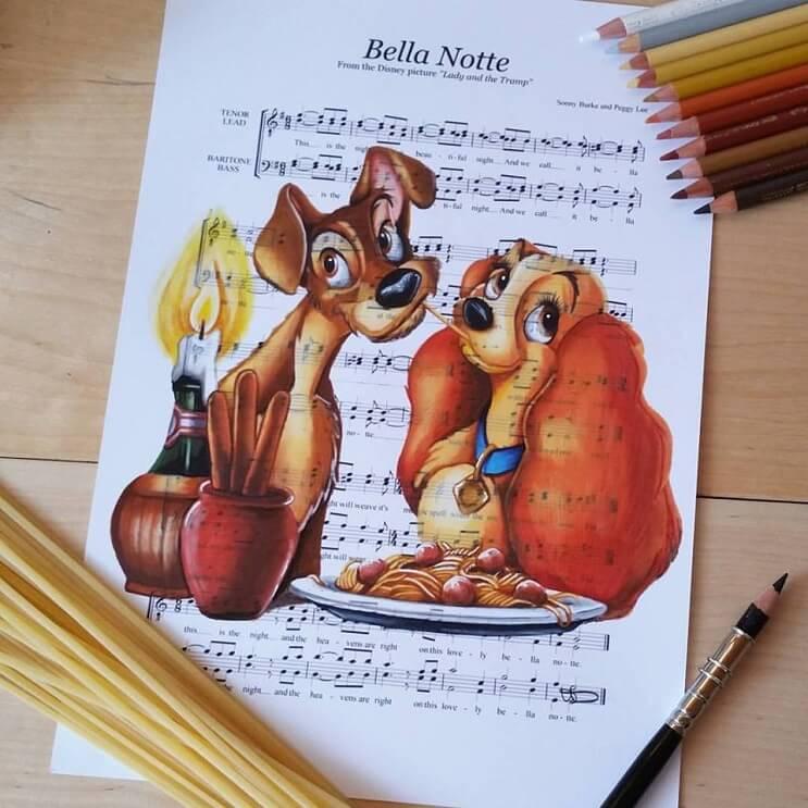 personajes-de-disney-dibujados-sobre-las-letras-de-sus-canciones-dama-y-el-vagabundo