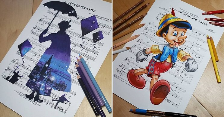 Personajes animados dibujados sobre las letras de sus canciones