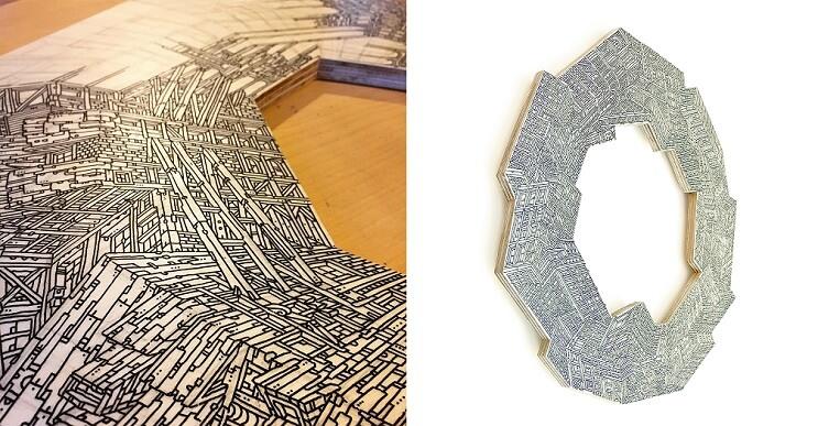 Rascacielos infinitos dibujados sobre madera