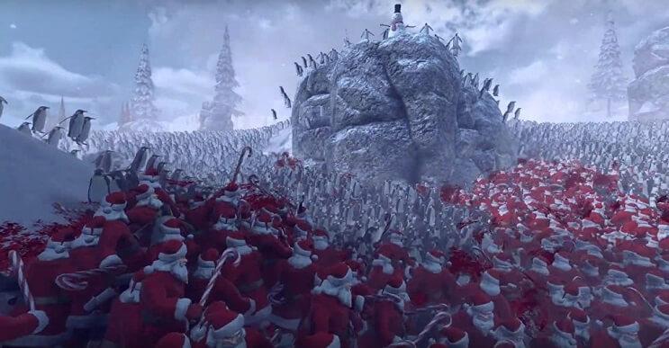 Una pandilla de Santas se enfrenta a cientos de pingüinos en esta batalla épica