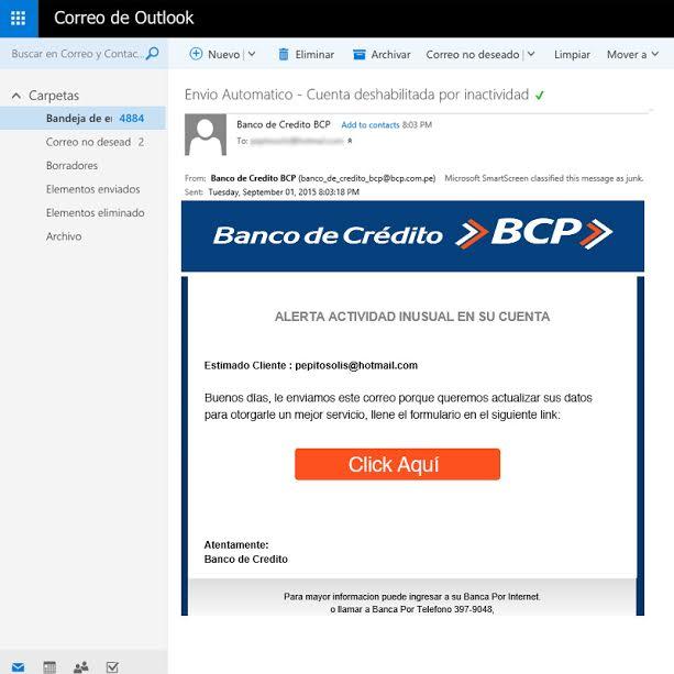 Phishing en correo electrónico