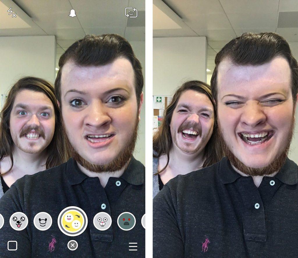 face swap filtro snapchat