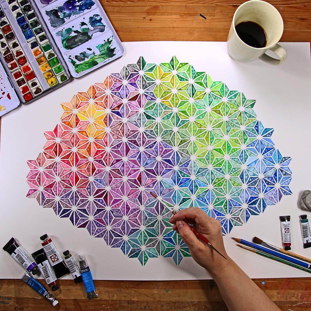 Mosaicos de arcoiris dibujados por la artista josie lewis - Materiales para pintar ...