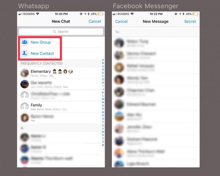 arquitectura informacional WhatsApp vs Facebook Messenger