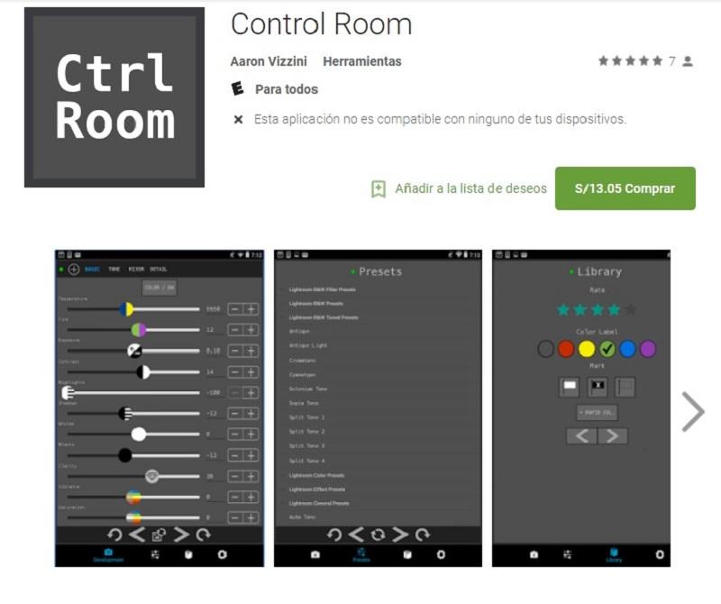 control room aplicacion lightroom