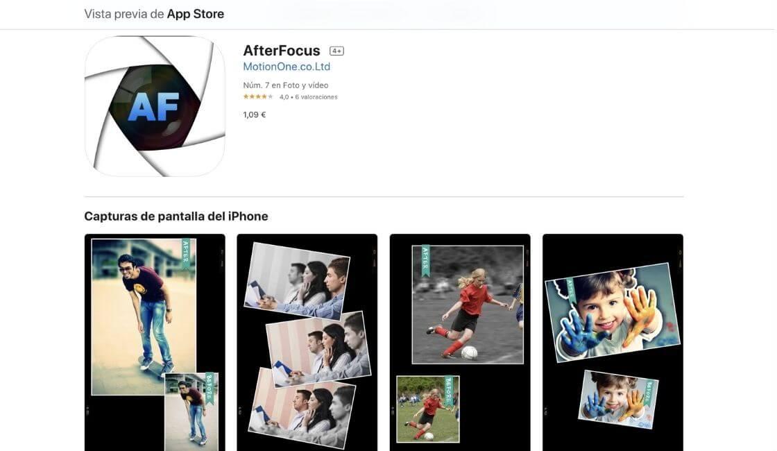 aplicacion after focus para fotos profesionales