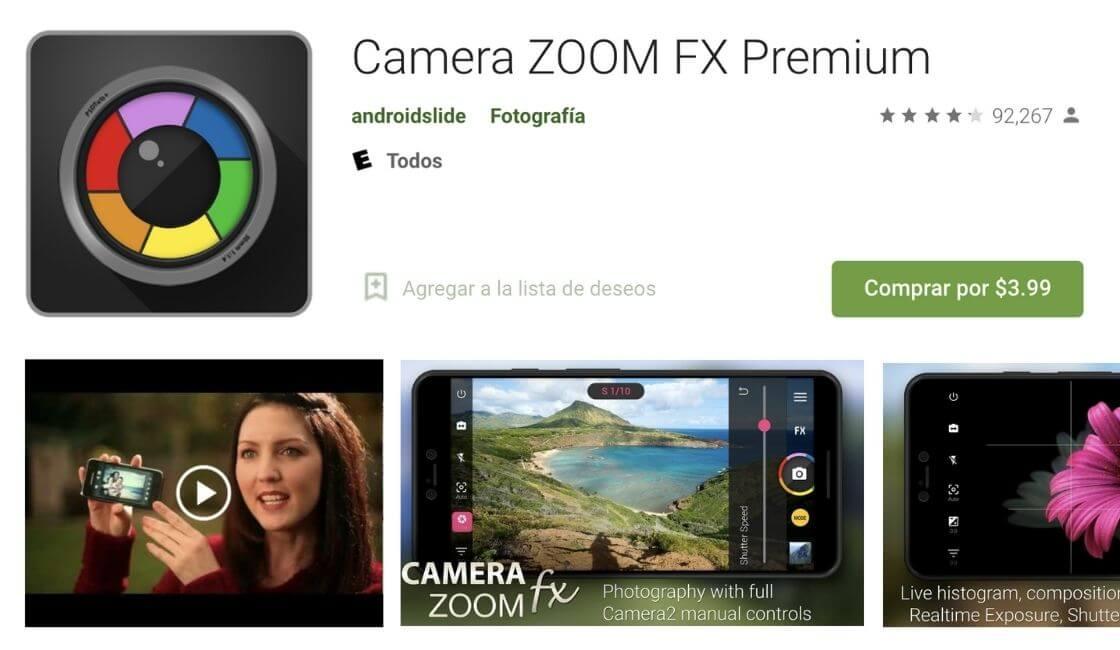 camera zoom fx app para  bonitas fotos profesionales