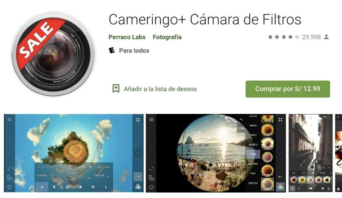 app cameringo para tomar bonitas fotos profesionales