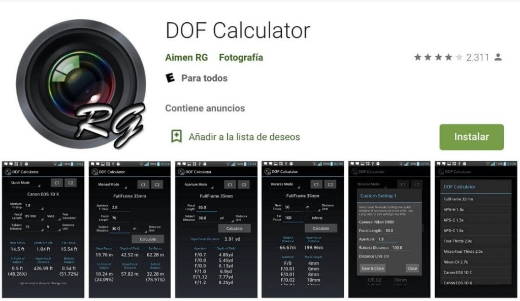 dof calculator para tomar fotos profesionales