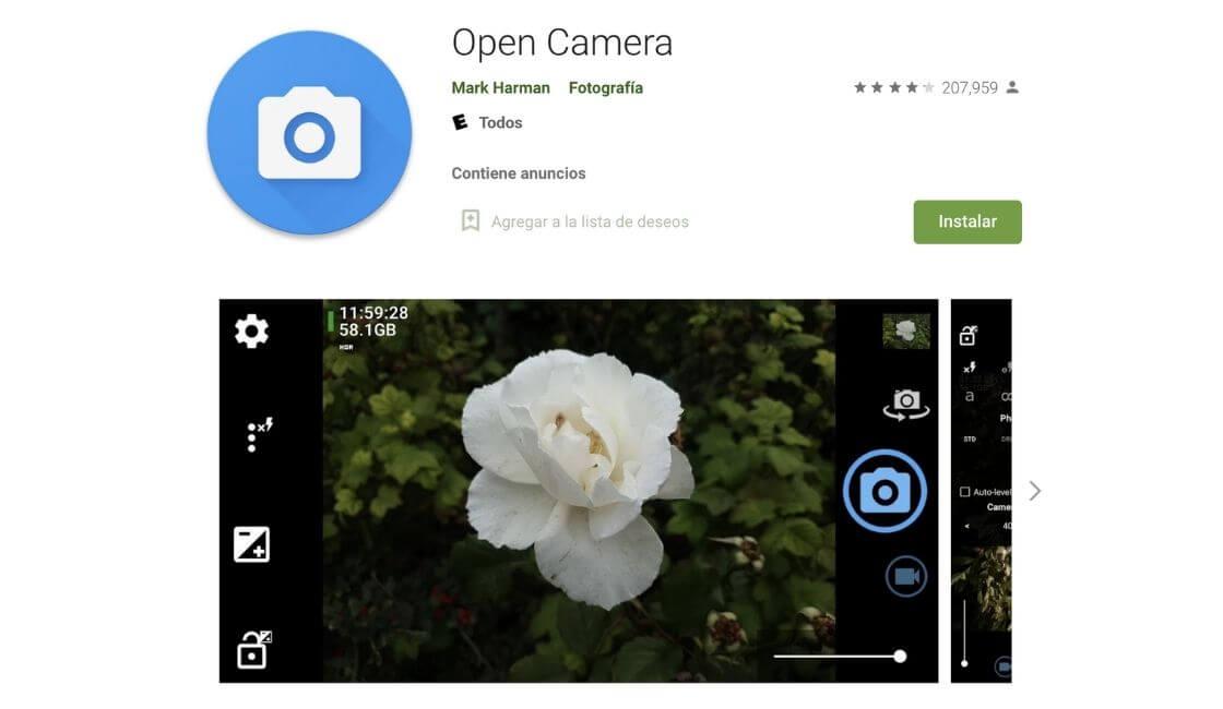 open camera para tomar bonitas fotos profesionales