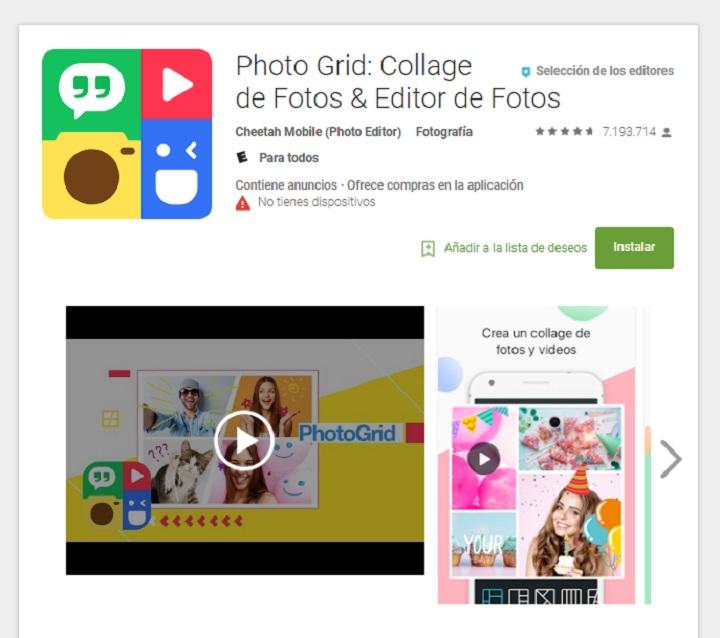 descargar la aplicación photo grid