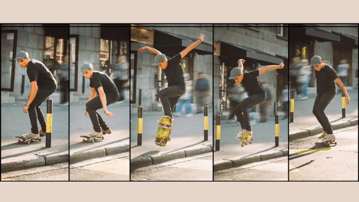 ráfaga de fotos en movimiento en skate