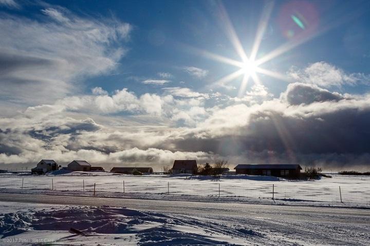 rayos brillantes del sol - apertura de diafragma