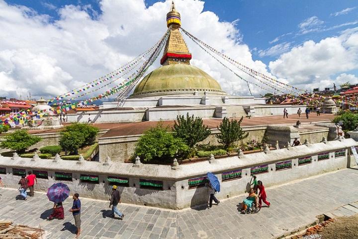 Vista del templo Boudhanath en Nepal