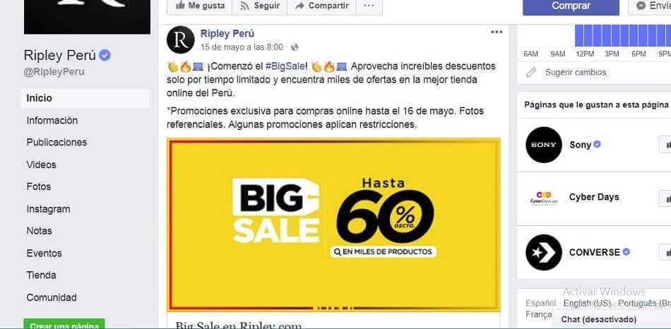 ofertas descuentos y promociones en Facebook