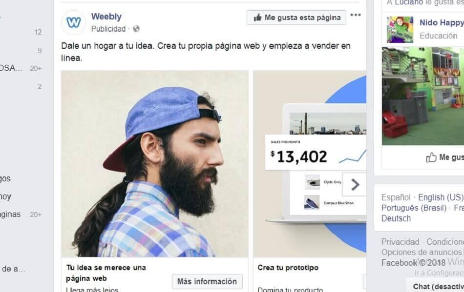 formato de secuencia en Facebook